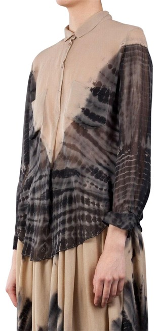 Item - Nude Grey Tie Dye Silk Beige with Shirt 2 Or M Blouse Size 8 (M)