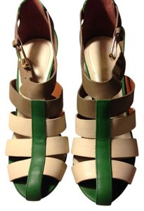 Elizabeth and James Leather Cream, Green, Brown Sandals