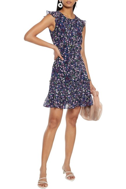 Item - Blue Bea Floral Tiered Pleated Ruffle Mini Button Up Short Casual Dress Size 4 (S)