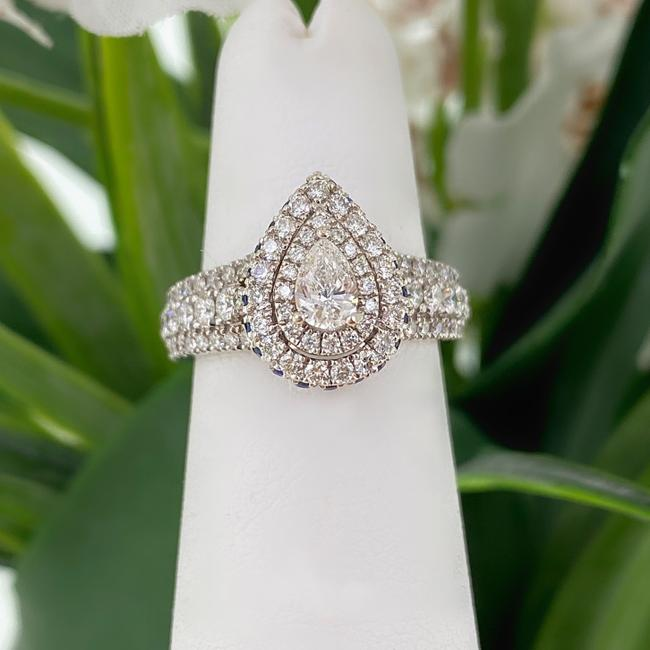 Item - White Gold Love 1.00 Tcw Pear Shape Diamond Sapphire Double Frame Engagement Ring