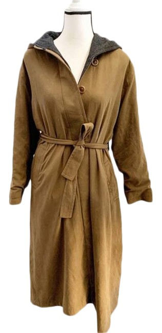 Item - Tan Vintage Brown Hooded Fleece Lined Trench Coat Jacket Size Petite 6 (S)
