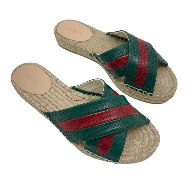 Item - Green/Red Malaga Web Perforated Leather Espadrilles Sandals Size US 7.5 Regular (M, B)