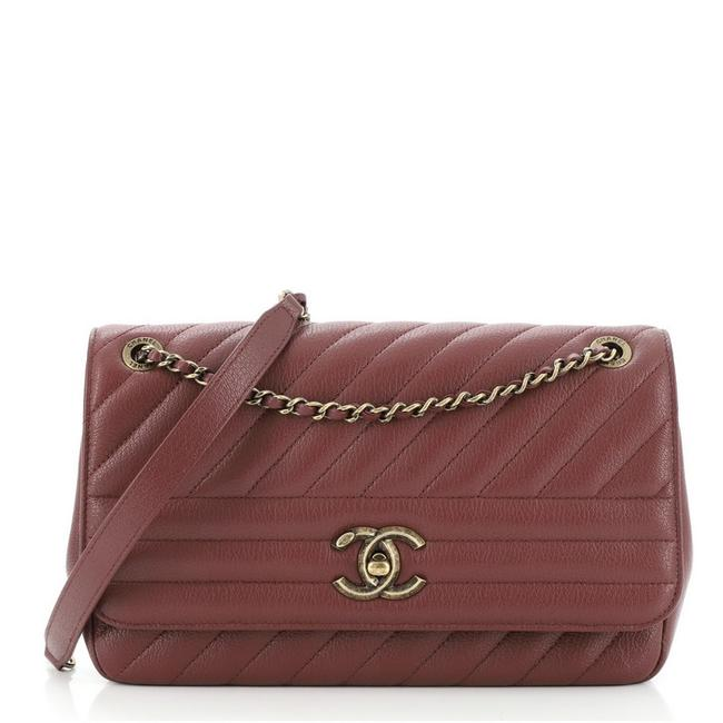 Item - Classic Flap Cc Diagonal Quilted Goatskin Medium Red Leather Cross Body Bag