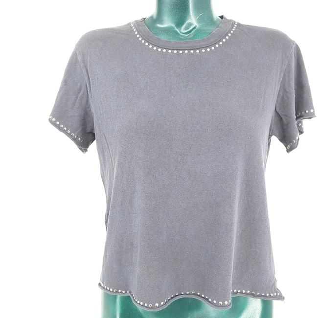Item - Gray Distressed Studded Crop T-shirt S Tee Shirt Size 6 (S)