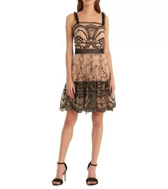 Item - Embroidered Mesh Fit & Flare Mid-length Cocktail Dress Size 14 (L)