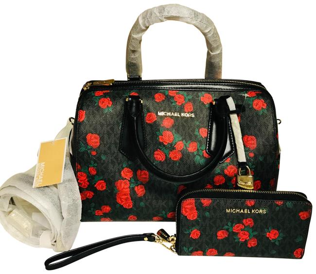 Item - Duffle Bag Hayes Matching Wallet Black and Red Roses Leather Satchel