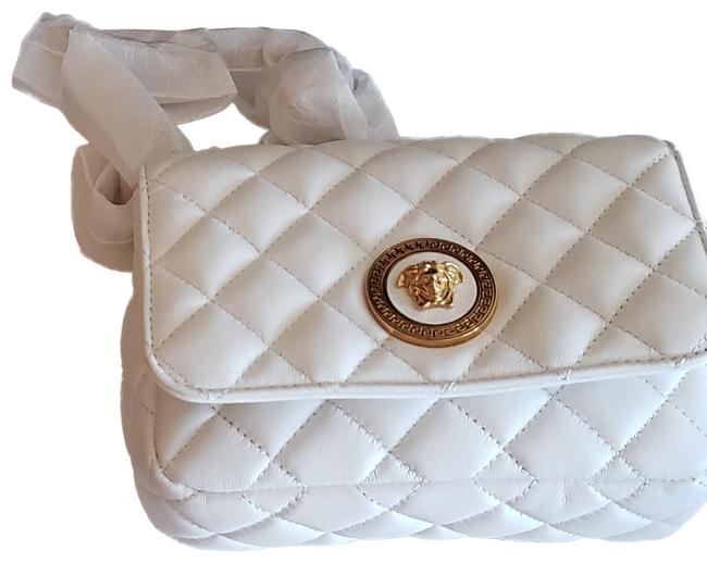 Item - Quilted Chain White Leather Shoulder Bag