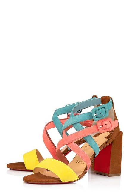 Item - Pink Yellow Brown Teal Blue Zefira 85 Colorblock Suede Strappy Heels Sandals Size EU 41 (Approx. US 11) Regular (M, B)