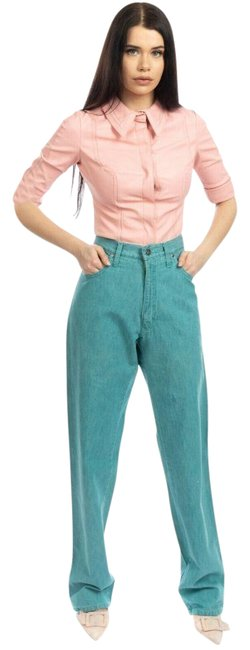Item - Blue Light Wash High Made In Italy Garment Dye Zip Fly Trouser/Wide Leg Jeans Size 33 (10, M)