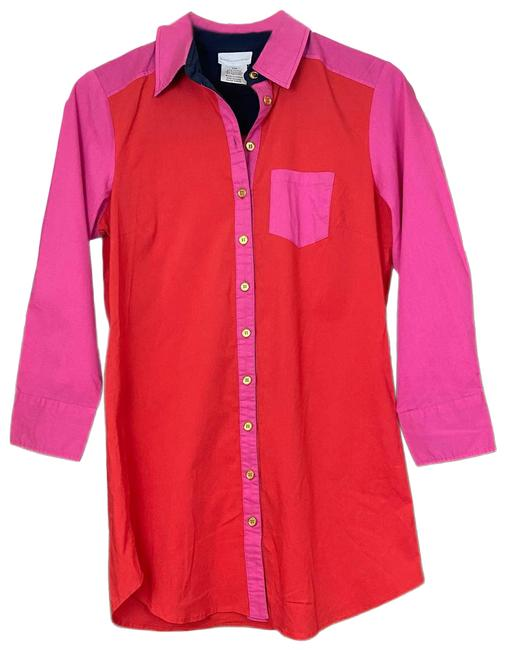 Item - Red XS   Colorblock Tunic Top Button Down 44824 Tall Short Casual Dress Size 2 (XS)