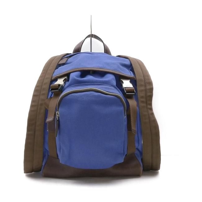 Item - Leather Tessuto 863430 Blue X Brown Canvas Backpack