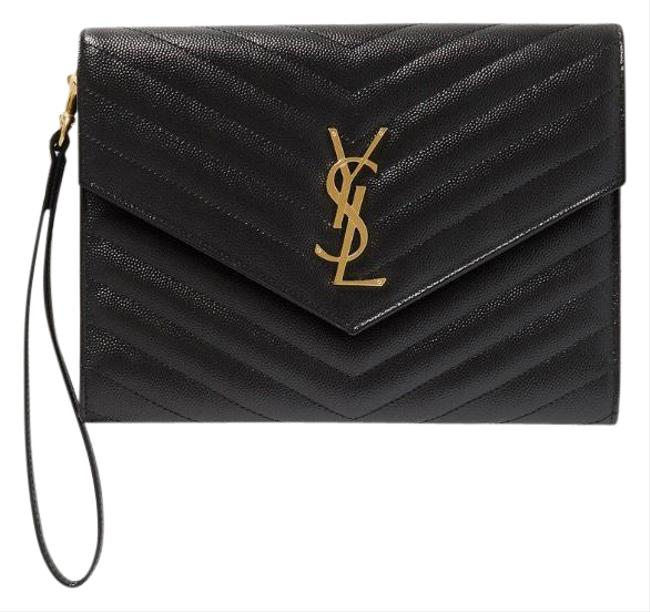 Item - Monogram Quilted Leather Envelope Pouch Wristlet Black Clutch