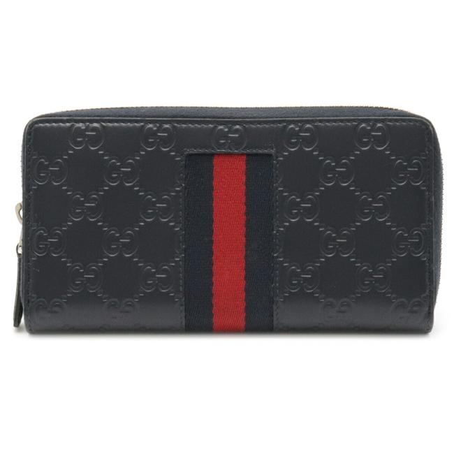Item - Navy / Red Color Shima New Wave Round Leather 408831 Wallet