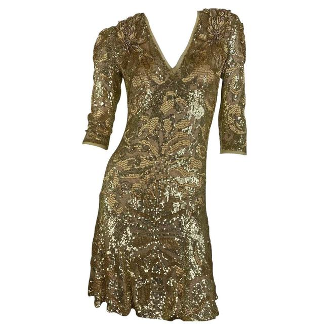 Item - Gold Embellished In Short Night Out Dress Size 4 (S)