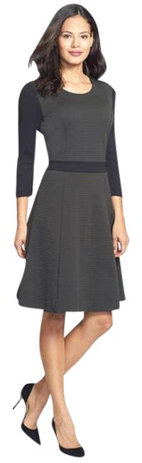 Item - Gray Jersey Textured Fit and Flare Work/Office Dress Size 12 (L)