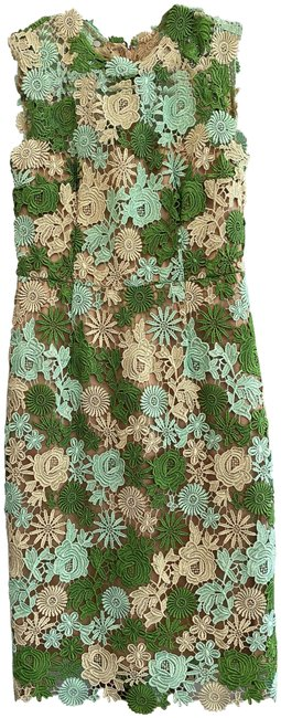 Item - Multi-color Sleeveless Floral Overlay Mid-length Night Out Dress Size 8 (M)