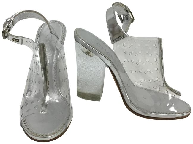 Item - Silver And Pvc with Glittering Heel Sandals Size EU 36 (Approx. US 6) Regular (M, B)