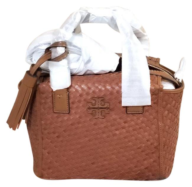 Item - Thea Woven Center Zip Retail Brown Leather Tote