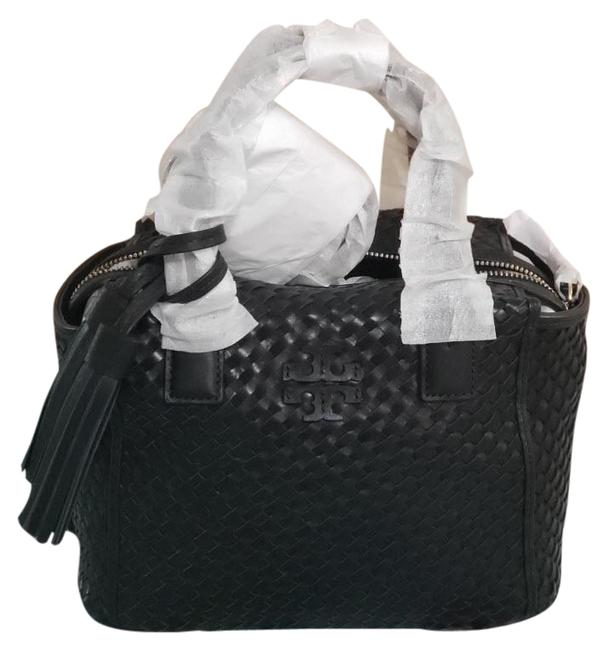 Item - Thea Woven Center Zip Retail Black Leather Tote