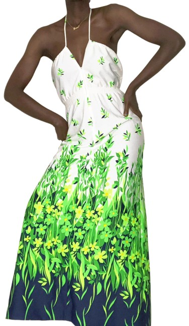Item - White & Green Leslie Fay Botanical Floral Print Long Casual Maxi Dress Size 4 (S)