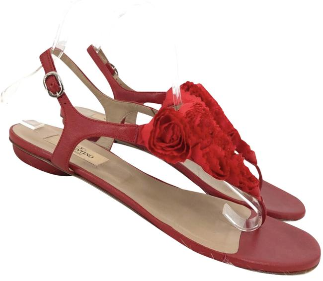 Item - Red Leather Rosette Flower Thong Sandals Size EU 39.5 (Approx. US 9.5) Regular (M, B)