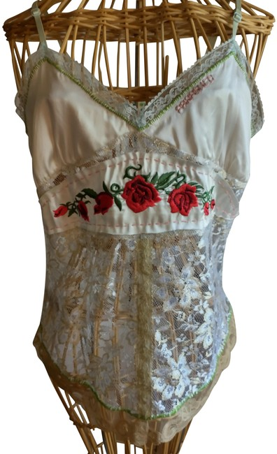 Item - Off White Lime Red Cream Lace/Silk Tank Top/Cami Size 12 (L)