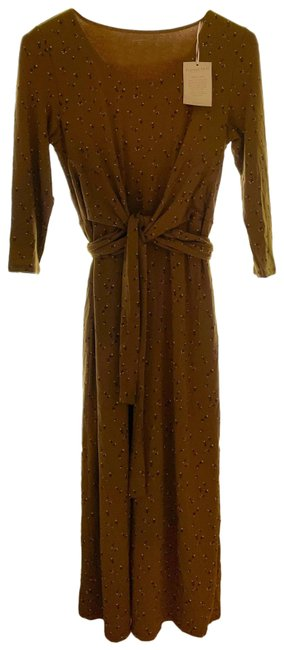 Item - Olive with Tiny White Flowers Ballet Wrap Knit Midi Long Cocktail Dress Size 8 (M)