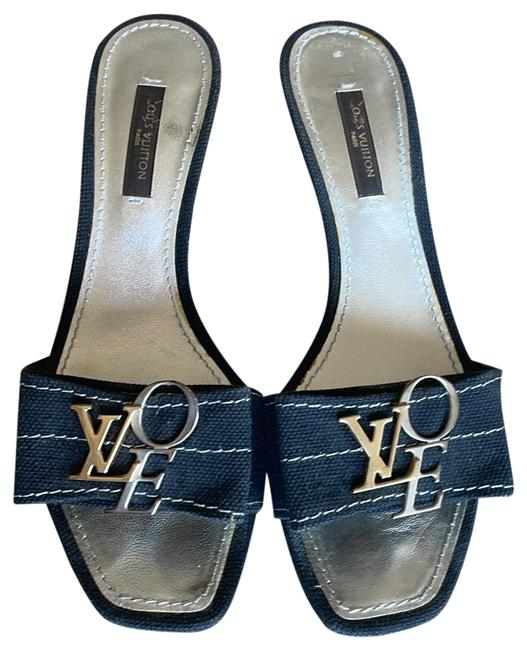Item - Black and Silver and Gold with White Stitching Love As Their Accent Mules/Slides Size EU 35.5 (Approx. US 5.5) Regular (M, B)