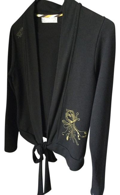 Skunkfunk Gots Certified Sexy Expose Wrap Holistic Flirty Date Night Night Out Day Travel Black * Bamboo * Environmentally-Friendly Fabric w/Gold Design * Top Or Jacket