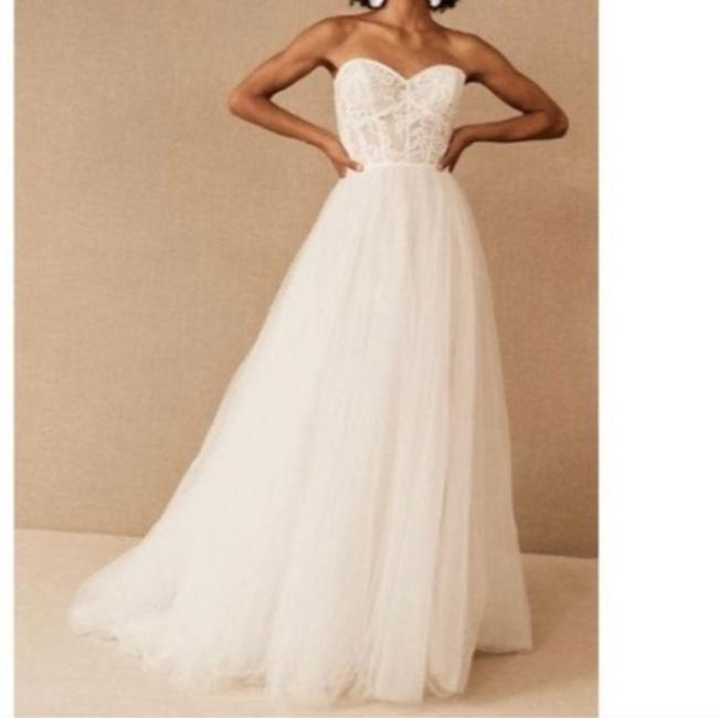 Item - Cream White Tulle Wtoo Blush Lace Corset Gown Formal Wedding Dress Size 2 (XS)