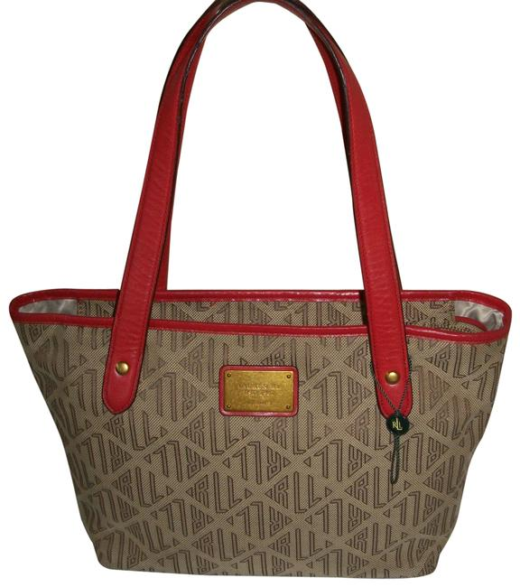 Item - Tan Red Canvas Tote