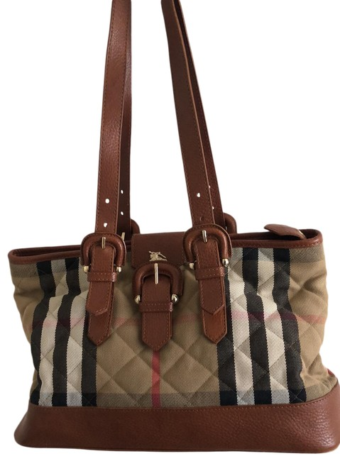 Item - Brown/Beige Leather Cotton Tote