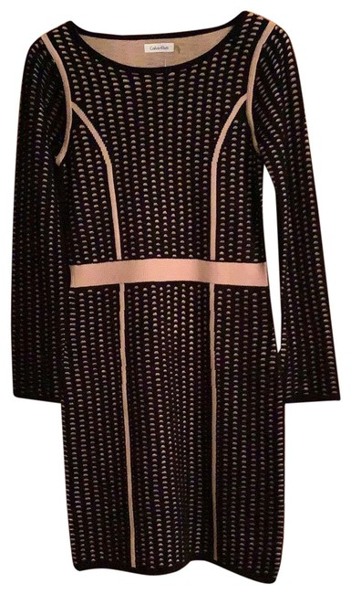 Item - Black and Blush Light Weight Knit Mid-length Work/Office Dress Size 4 (S)