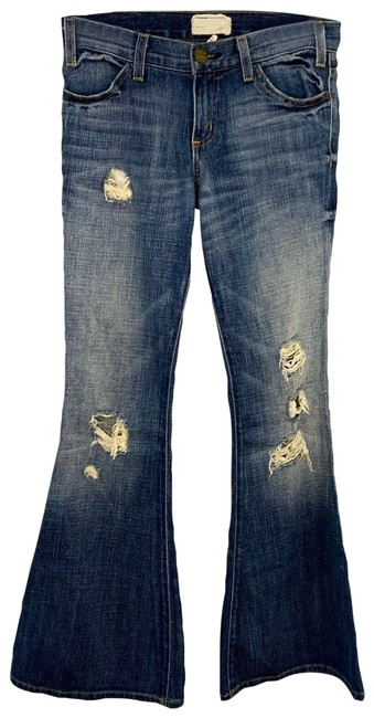 Item - Blue The Elephant Bell Wishing Well Destroy Distressed Flare Leg Jeans Size 24 (0, XS)