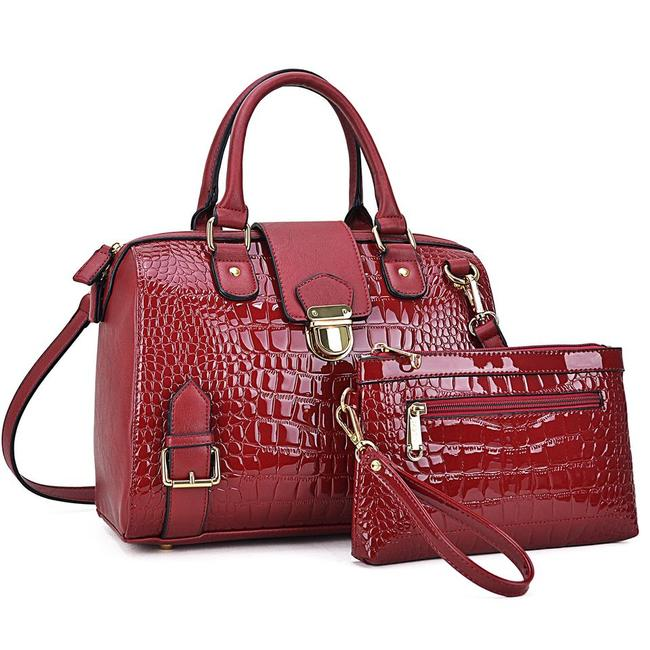 Item - W W/ Buckle Snap and Matching Wristlet Red Faux Leather Satchel