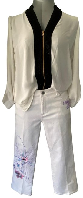 Item - White Denim Hand Painted Embellished Boot Cut Jeans Size 8 (M, 29, 30)