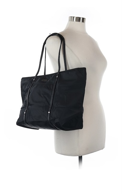 Item - And Leather Zippered Black Nylon Tote