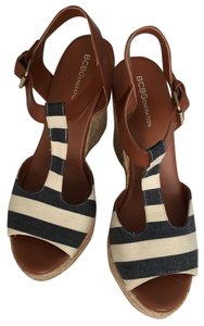BCBGeneration Wedge Espadrille Blue Stripe Wedges