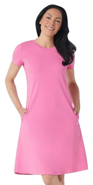 Item - Pink Women's Regular Solid Knit Mid-length Short Casual Dress Size 4 (S)