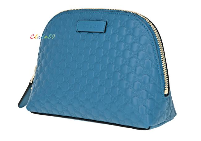 Item - Deep Cobalt 449893 Gg Microguccissima Leather Pouch /Cosmetic Case Cosmetic Bag