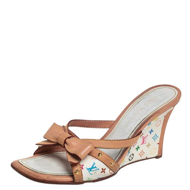Item - Multicolor Monogram Canvas and Leather Bow Sandals Wedges Size US 7.5 Regular (M, B)