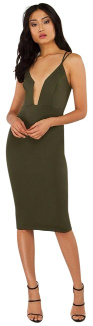 Item - Green Bodycon Olive Army Midi Plunge Deep V Small Mid-length Night Out Dress Size 4 (S)