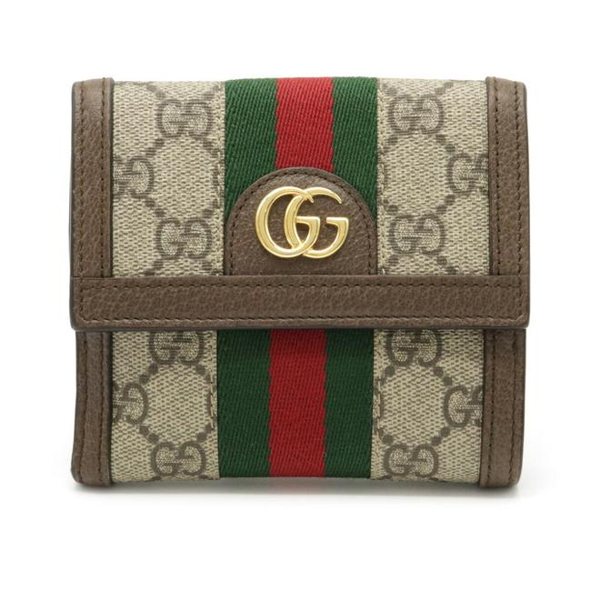Item - Beige / Brown / Green / Khaki / Red Color Gg Supreme Offidia French Flap Sherry Line Bi-fold Double Hook Pvc 523173 Wallet