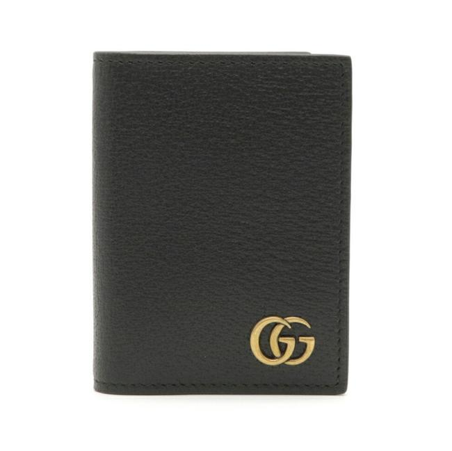Item - Black Marmont Gg Card Case Business Holder Pass Leather 428737 Wallet