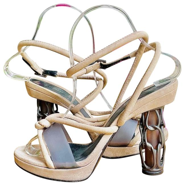 Item - Tan Caged Chain Heel Strappy Sandals 37.5 Pumps Size US 7.5 Regular (M, B)