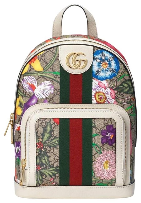 Item - Ophidia Flora Beige Brown Off White Gg Supreme Canvas Backpack