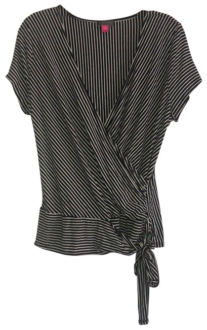 Item - Black with White Striped Wrap Front Tunic Size 12 (L)