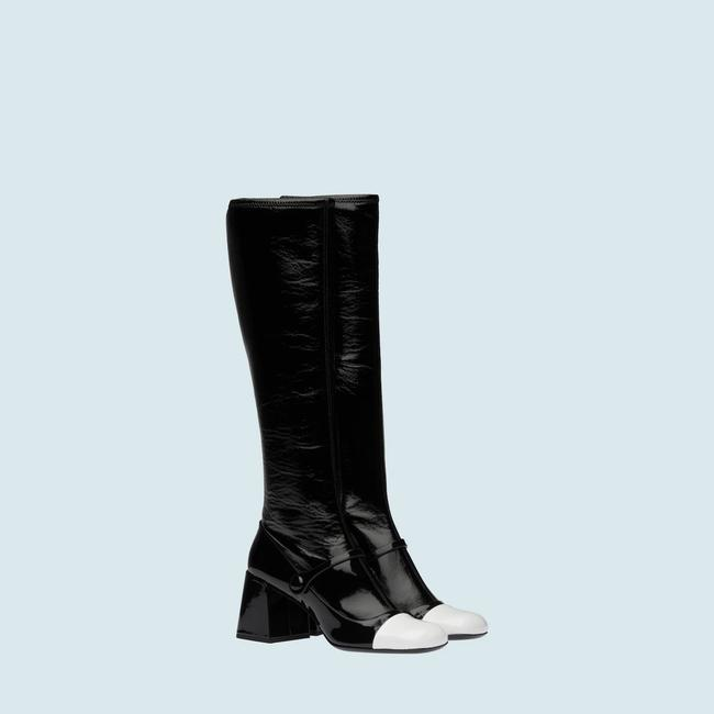 Item - Black / White Patent Leather These Patent Leather Recall Of The 60's. Boots/Booties Size US 8.5 Regular (M, B)