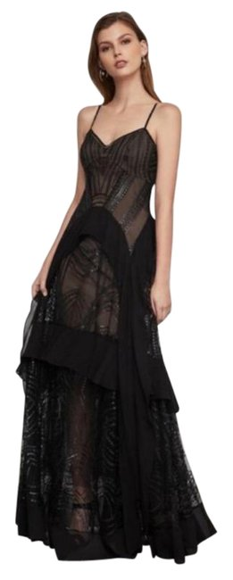 Item - Black Strappy Sequined &embroidered Gown Long Formal Dress Size 10 (M)