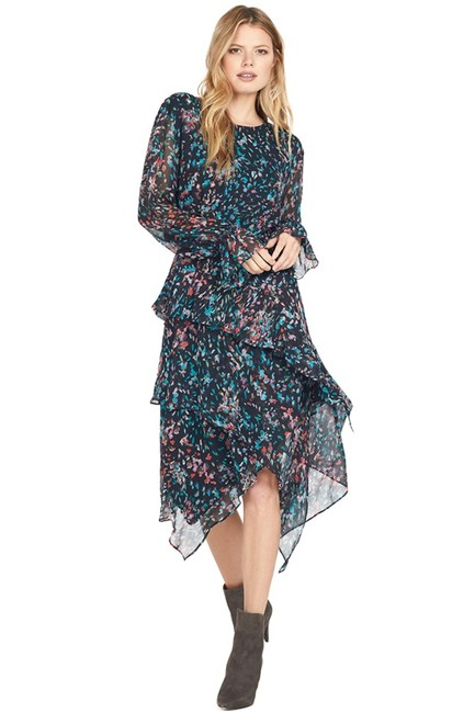 Item - Black Floral Ruffle Chiffon Mid-length Night Out Dress Size 4 (S)